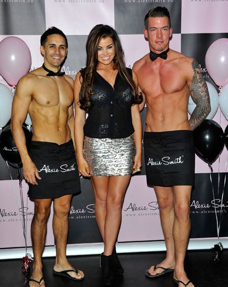 Jessica Wright posed with the half naked waiters at the Alexis Smith lingerie launch