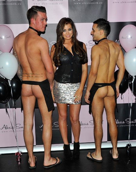 Jessica Wright had a giggle when the naked waiters bared their bums