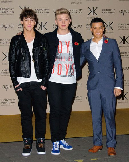 Jahmene Douglas and District 3 joined their X Factor pals at the Kardashian Kollection launch