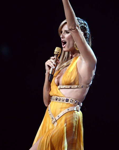 Heidi Klum flaunted her figure in another revealing Versace number
