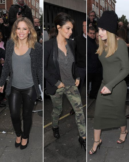 Kimberley Walsh, Cheryl Cole and Nicola Roberts were mobbed by fans outside the studio