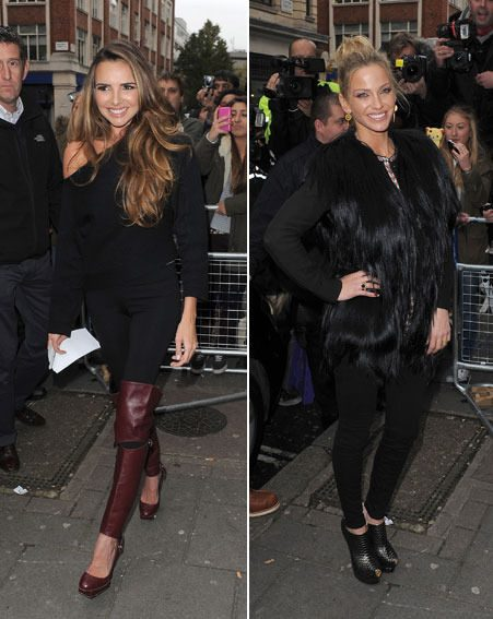 Nadine Coyle and Sarah Harding showed off their tiny frames in skin-tight trousers