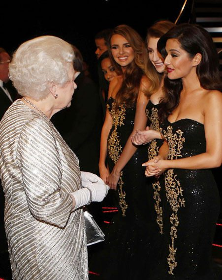 Girls Aloud chatted to the Queen after their performance at the Royal Albert Hall