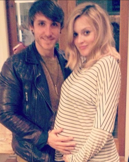 Fearne Cotton and her baby bump visited The X Factor's Kye Sones yesterday