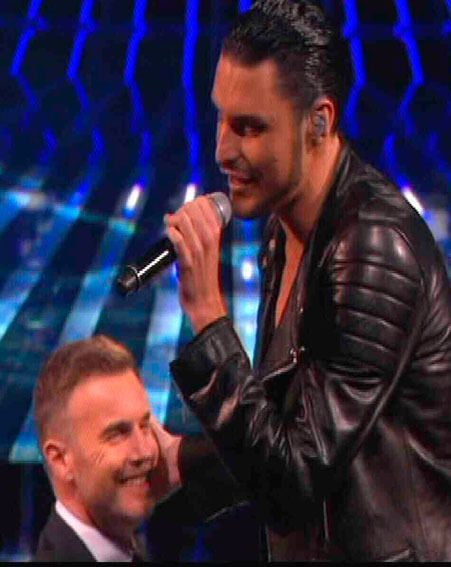 Rylan Clark kissed Gary Barlow during his sing off performance on The X Factor