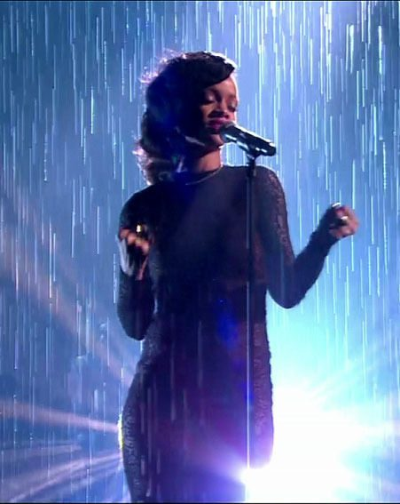 Rihanna performed new track, Diamonds in the 'rain' on The X Factor last night