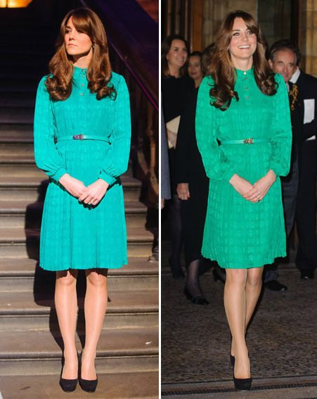 Kate Middleton wore an emerald green Mulberry dress for the Treasures gallery opening