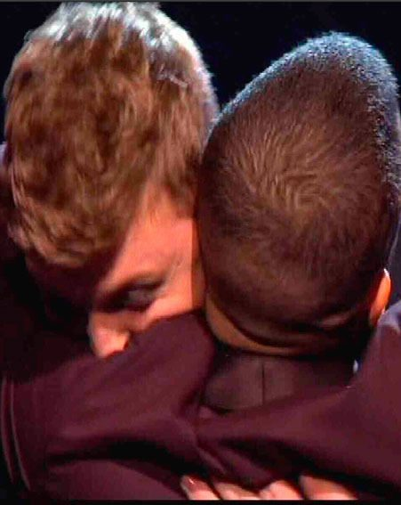 James Arthur and Jahmene Douglas congratulated each other on getting through to The X Factor final