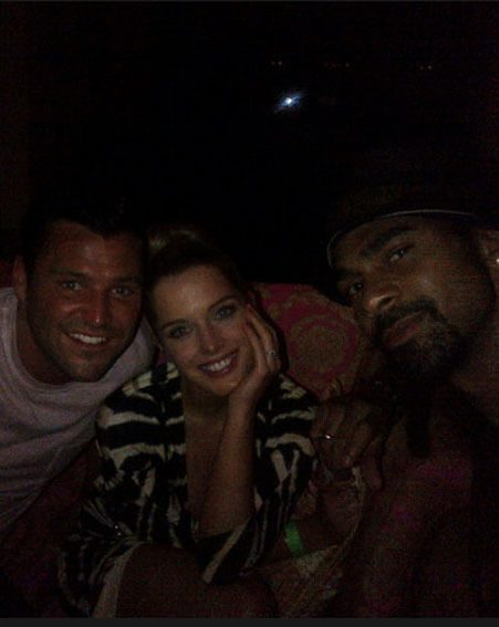 Mark Wright, Helen Flanagan and David Haye posed for a Twitter picture at last night's wrap party