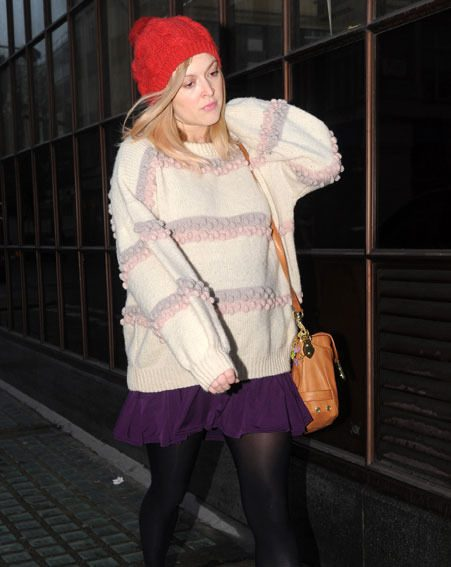 Fearne Cotton and her baby bump stepped out without a coat on Monday