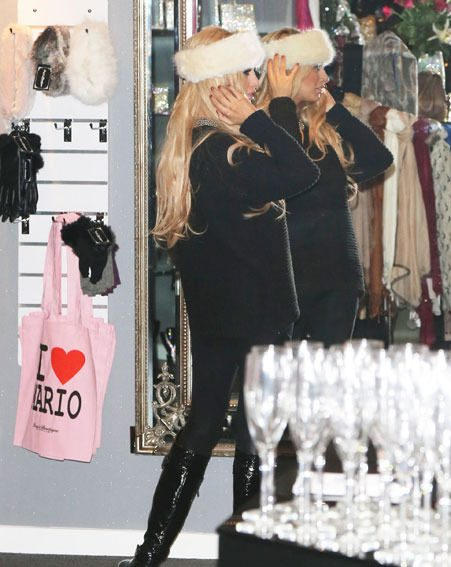 Chantelle Houghton made a few purchases at Lucy Mecklenburgh's boutique last night