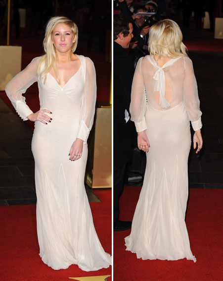 Ellie Goulding wore a sheer white dress with no bra and black knickers