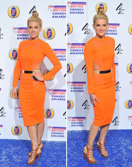 Ashley Roberts looked stunning in her bold orange Aqua By Aqua frock