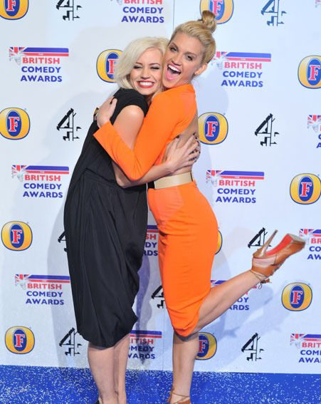 Ashley Roberts and fellow Pussycat Doll Kimberley Wyatt posed together on the blue carpet