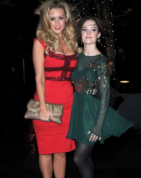 Catherine Tyldesley and Paula Lane at the Coronation Street Christmas party