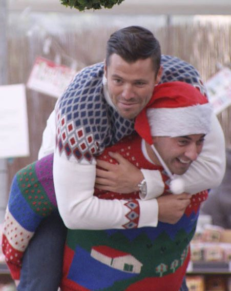 Mark Wright and James Argent enjoy some festive fun on tonight's TOWIE Christmas special