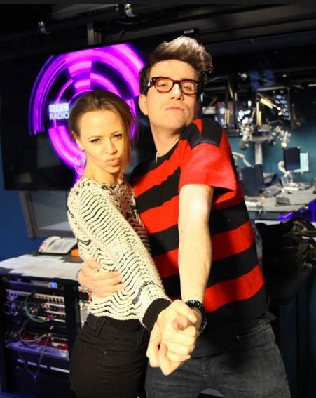Kimberley Walsh posed with Nick Grimshaw when she appeared on the Radio 1 Breakfast Show today