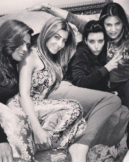 Kim Kardashian enjoyed a night in with friends before her Miami Beach photo shoot