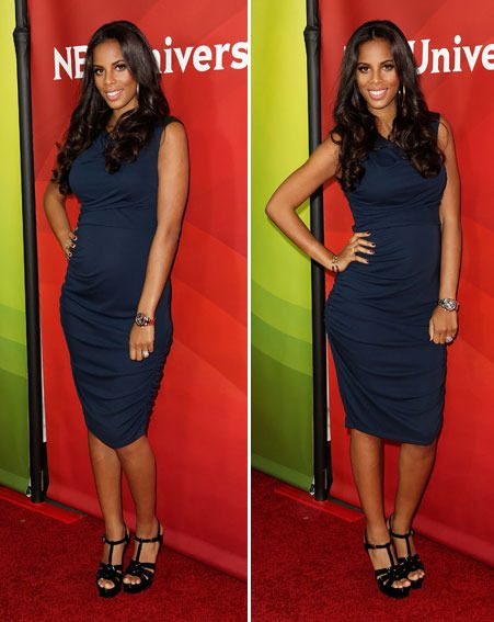 Rochelle Humes showed off her pregnant belly in a tight navy frock