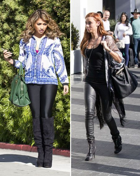 Vanessa White and Una Healy showed off their pins in black skin-tight trousers