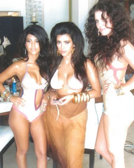 Kim Kardashian posed with her sisters Kourtney and Khloe for their first photo shoot