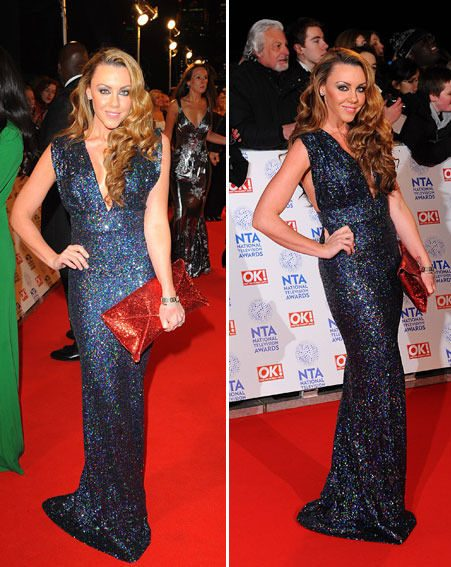 Michelle Heaton showed off her cleavage in a plunging Nadine Merabi gown