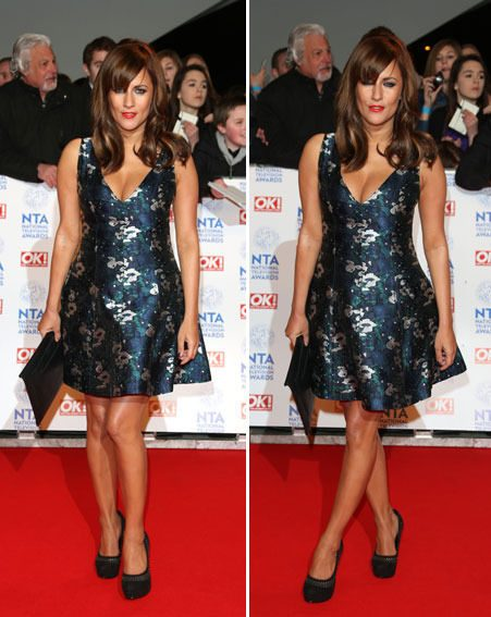 Caroline Flack swapped her trademark look for a pretty patterned mini dress at the NTAs last night
