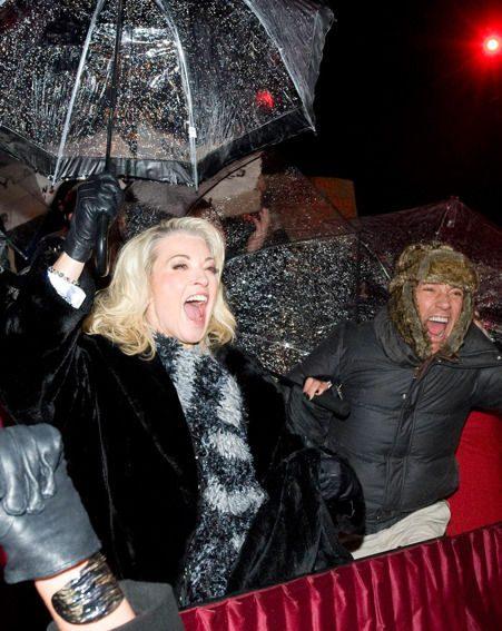 Gillian Taylforth and Frankie Dettori celebrate as Rylan Clark wins Celebrity Big Brother