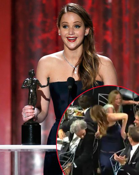 Jennifer Lawrence tripped up as she accepted her gong at the SAG Awards last night