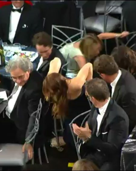 Jennifer Lawrence got a bit over excited at the Screen Actors Guild Awards last night