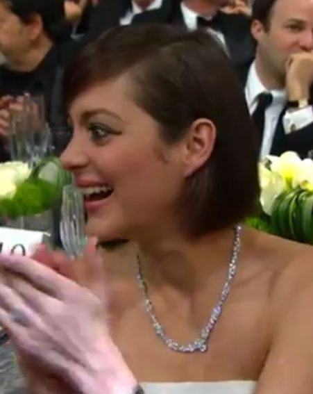 Marion Cotillard looked shocked as Jennifer Lawrence tripped over a chair at the SAG Awards