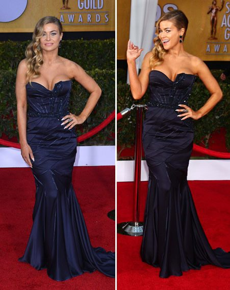 Carmen Electra showed off a lot of cleavage in her revealing frock at the SAG Awards 2013