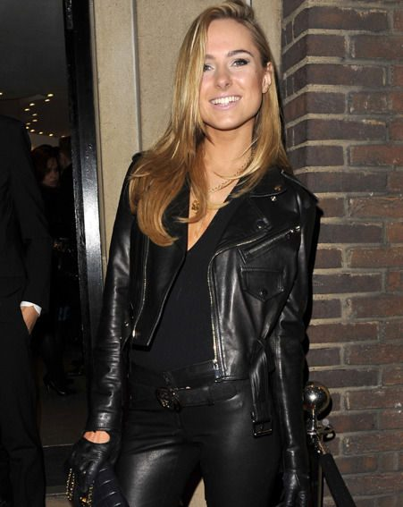 Kimberley Garner wore skin tight leather pants, a leather biker style jacket and black heels boots