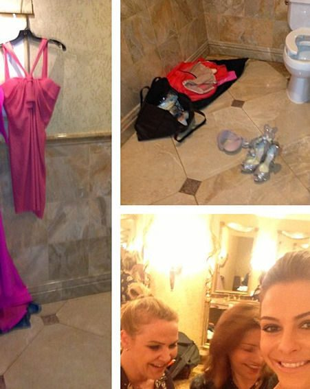 Maria Menounos revealed how she got her frock fitted in a Beverley Hills bathroom