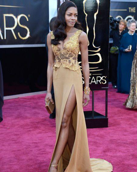 Naomie Harris stuns but risks a nipple slip and underwear flash at Oscars 2013