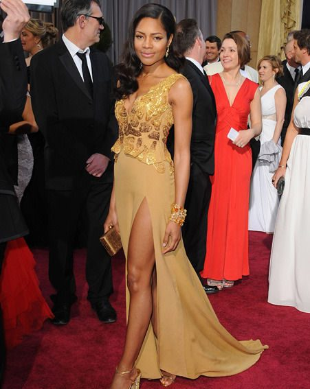 Skyfall actress Naomie Harris dons plunging golden frock on red carpet