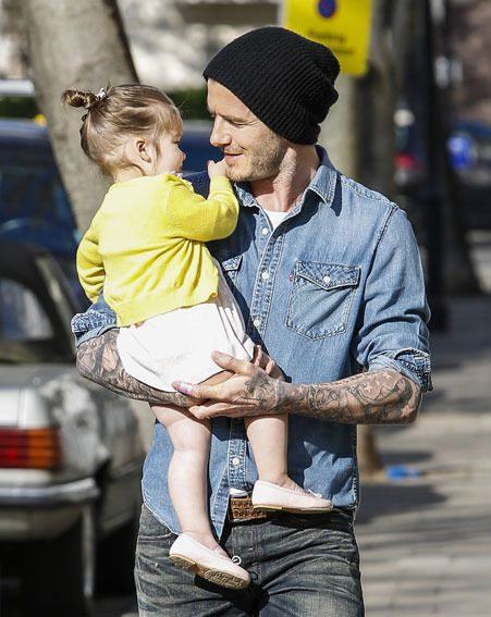 David Beckham and Harper Seven giggled together as they took a stroll in London