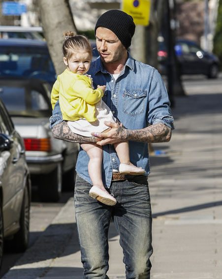Harper Beckham looked totally content with her daddy